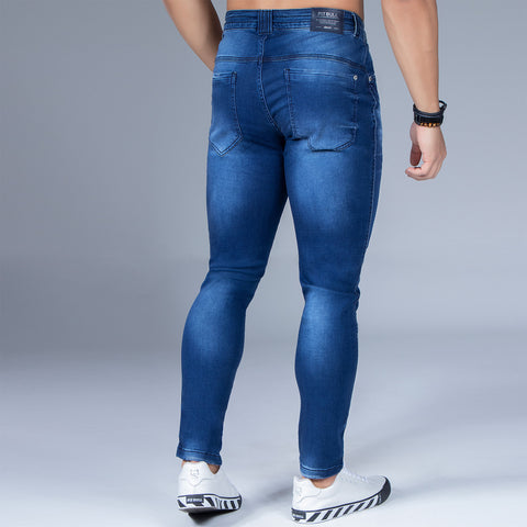 Men's Blue Denim Slim Jeans, 32687