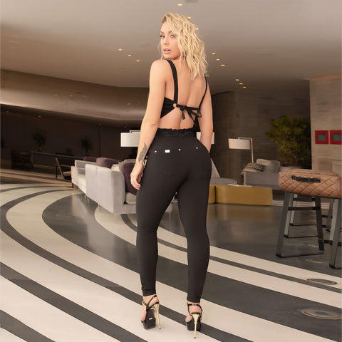 Women's Black Paperbag Waist Pants, 32937
