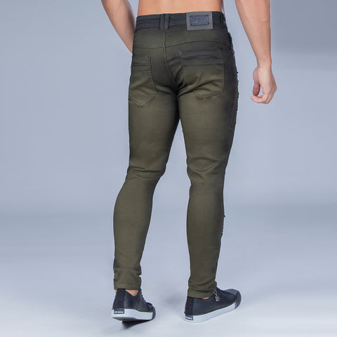 Men's Army Green Slim Jeans, 33158