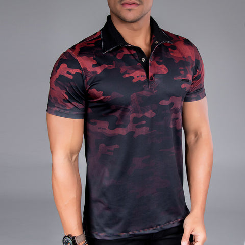 Men's Red Camo Polo, 33493