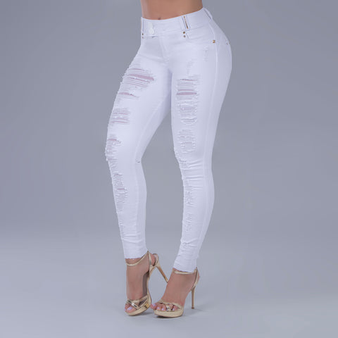 Women's Full White Destroyed Jeans, 33636