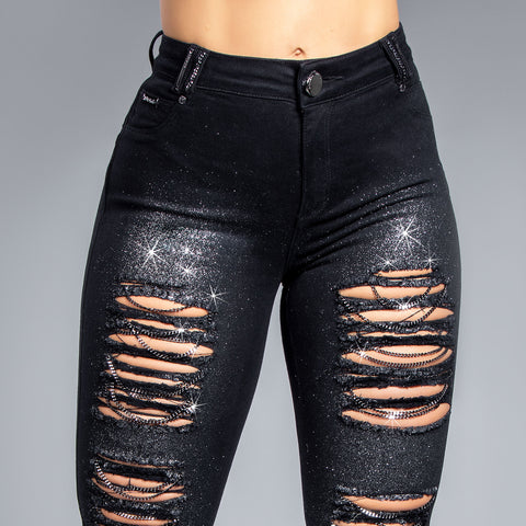 Women's Ripped & Shiny Black Skinny Jeans, 33822