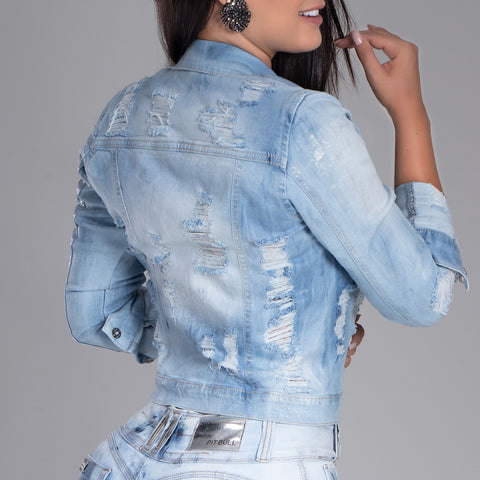 Women's Faded Wash Denim Jacket, 33929
