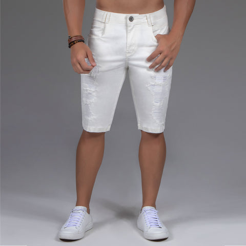 Men's Off White Denim Shorts - 34022