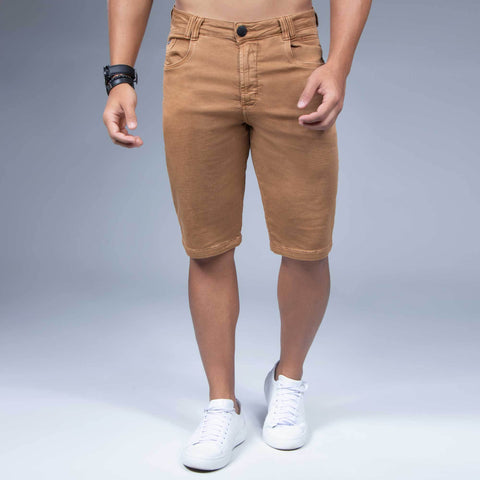 Men's Caramel Denim Bermuda Shorts, 34253
