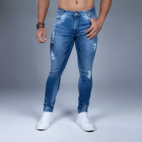 MEN'S FADED WASH SLIM JEANS - 34305