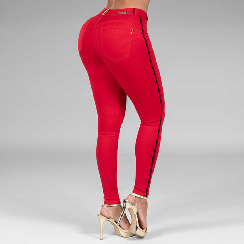 WOMEN'S RED COLLOR SKINNY JEANS - 34627