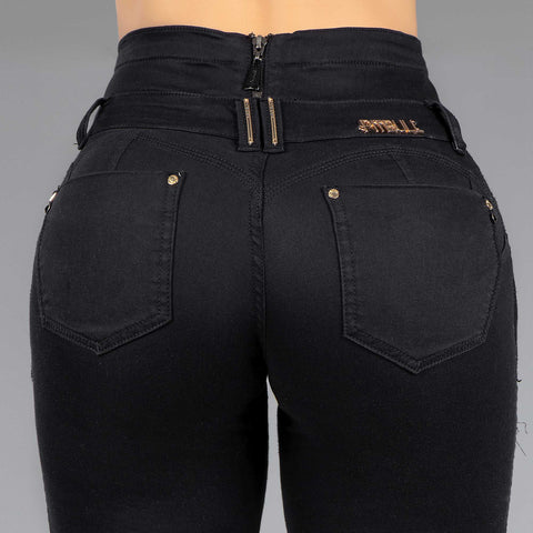 Women's Magic Waist Destroyed Black Jeans, 35150