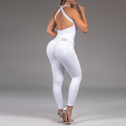 Women's White Denim Long Jumpsuit, 35244