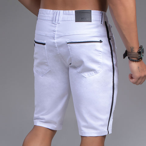 Men's White Denim Bermuda Shorts, 35349