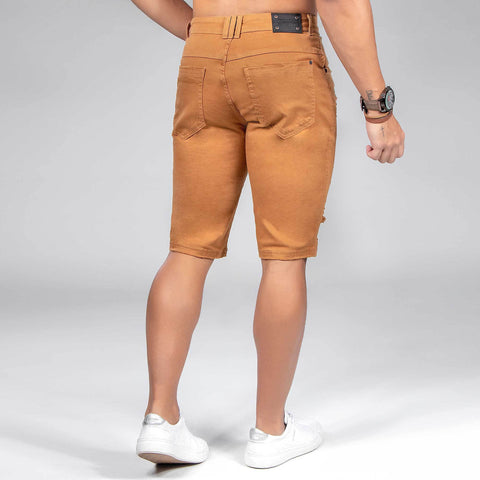 MEN'S DESTROYED CARAMEL DENIM SHORTS - 35470