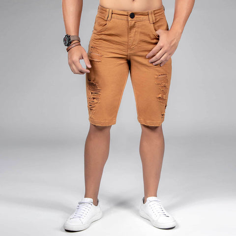 Men's Destroyed Caramel Denim Shorts, 35470