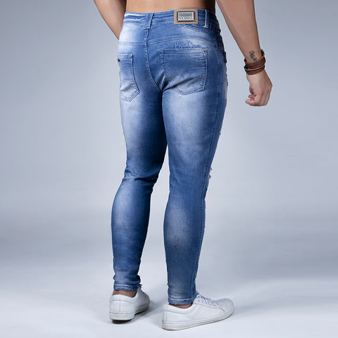 Men's Whiskering Wash Slim Jeans- 31774