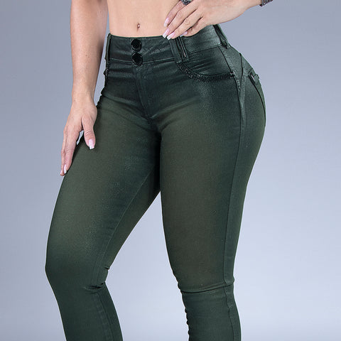 Women's Army Green Skinny Jeans, 29573