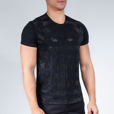 Men's Black Shiny Stripes T-Shirt, 29090
