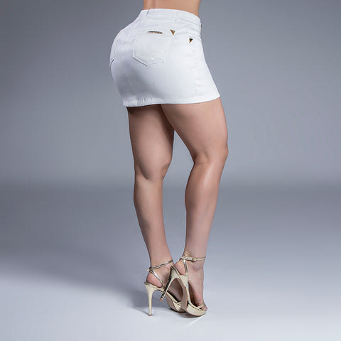 Women's White And Sparkle Mini Skirt - 27538