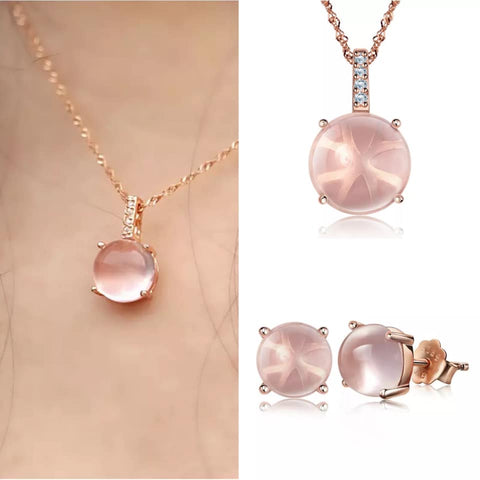 Rose Opal Necklace & Earring Set
