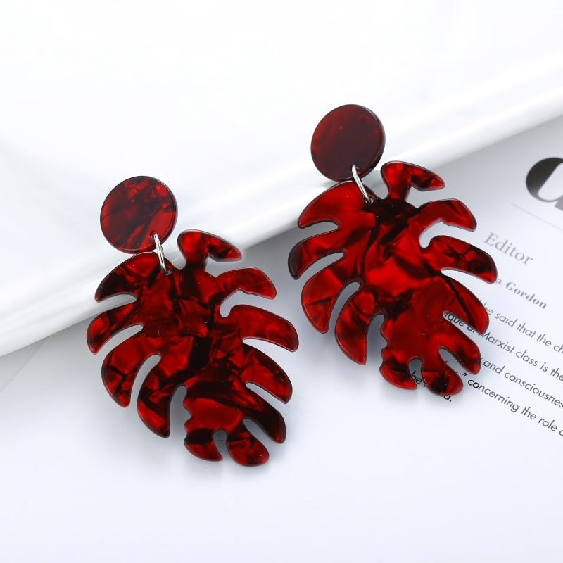 Leaf Acrylic Summer Earrings