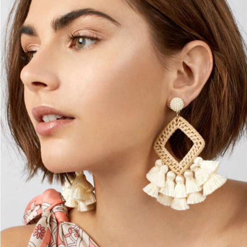 Tassel & Rattan Earrings