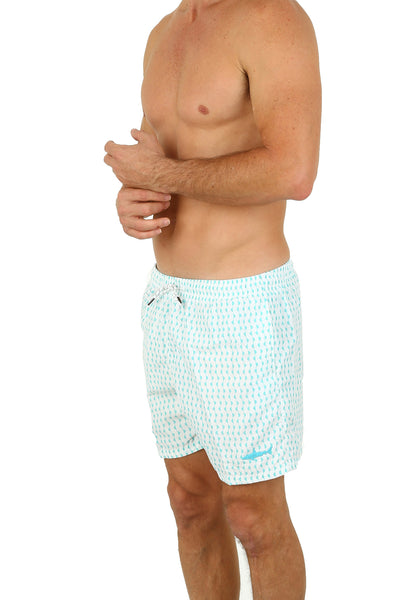 #1831 UZZI SHARK SOUTH BEACH PRINT SWIM SHORTS