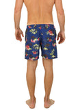 #1832 UZZI SHARK ALOHA PRINT SWIM SHORTS