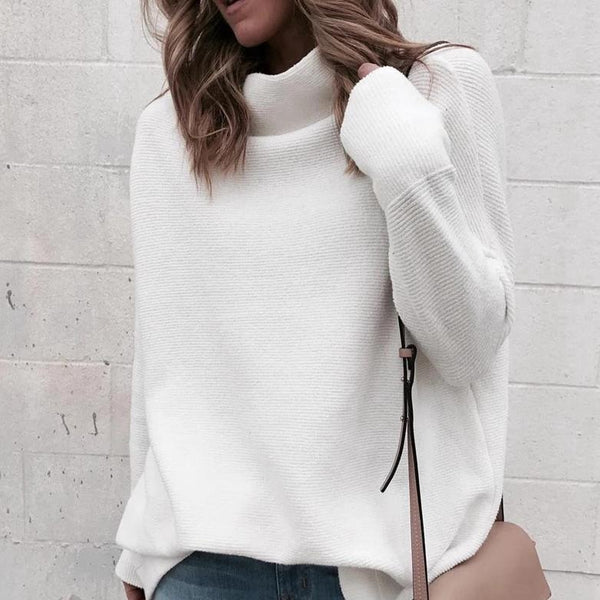 Lulu Casual Turtleneck White Sweater