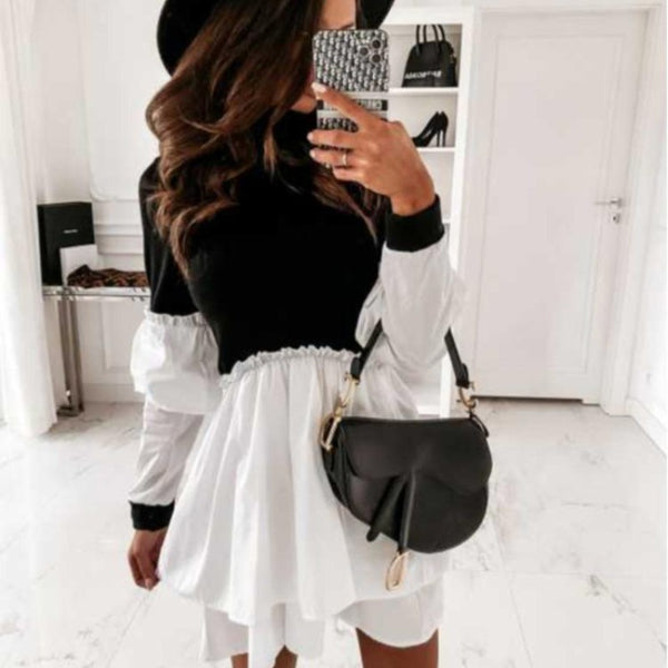 Elegant Long-sleeved Ruffled High-Neck Knitted Top