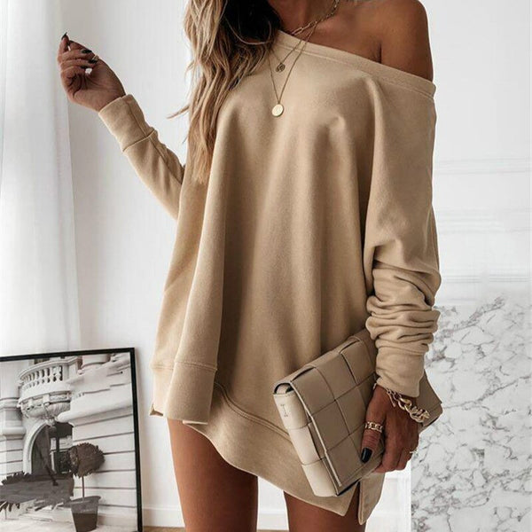 Full Of Fall Off Shoulder Casual Loose Dress