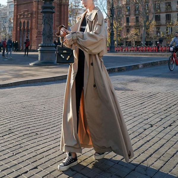 Oversized X-Long Trench Coat - Double-Breasted Belted Coat