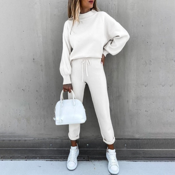 Fashion Casual Loose Round Neck Long Sleeve Fleece Color Two-piece Suit