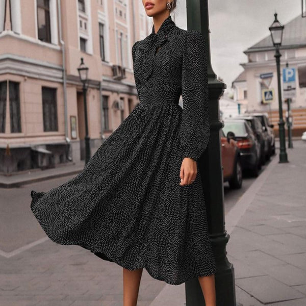 Women's Polka Dot A-Line Long Sleeve Dress