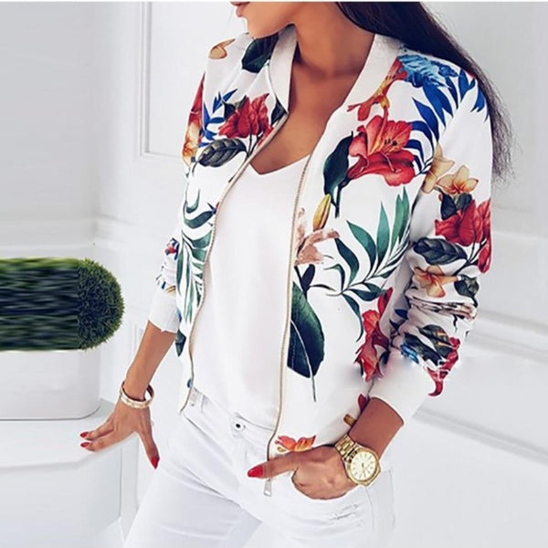 Floral Print Womens Bomber Jacket