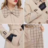 Windbreaker Plaid Collar Belt Button Coat