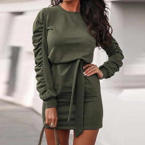Ruffled O-Neck Pocket Puff Sleeve Bodycon Dress