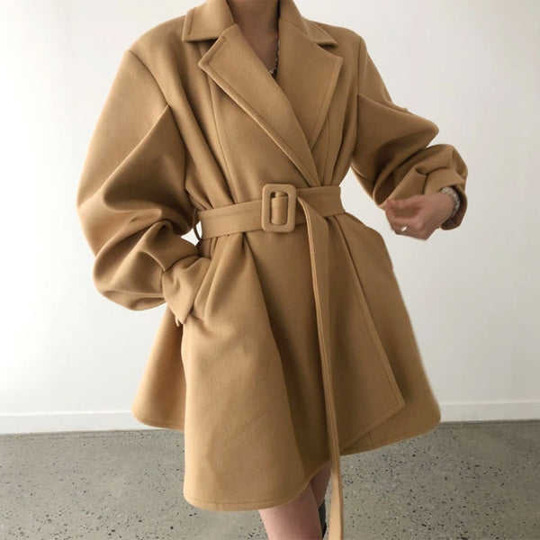 Woolen Suit Coat With Belt