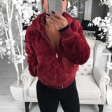 Women Hoodie Solid Faux Fur Coat With Pockets