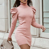 Knit Puff Sleeve Dress
