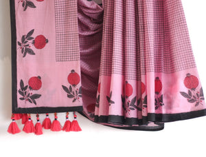 SAREE - Flower in Pink & Black
