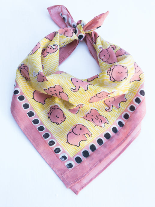 Cotton Elephant Square Scarf