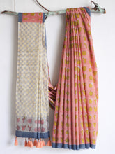Load image into Gallery viewer, SAREE - Cactus in Peach & Yellow