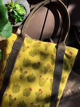 Load image into Gallery viewer, Canvas Leather Cactus Tote Bag