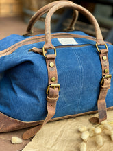 Load image into Gallery viewer, Canvas Leather Indigo Duffle Bag