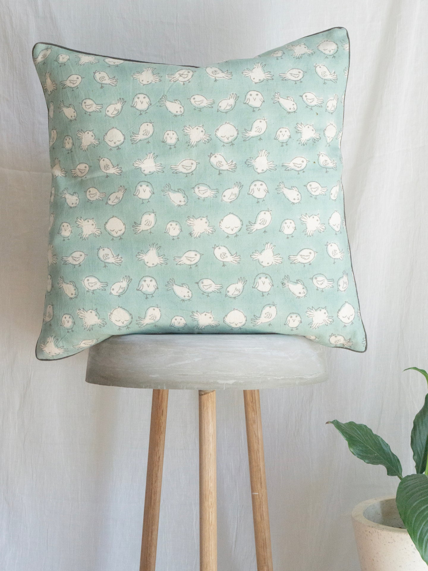 Linen Cushion Cover With Birdies