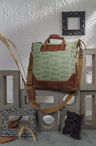 Canvas Leather Fishes Handbag