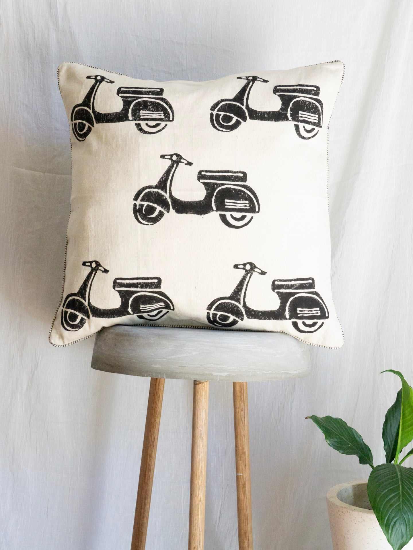 Linen Cushion With Scooter