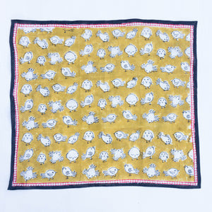 Cotton Khakhi Birdes Square Scarf