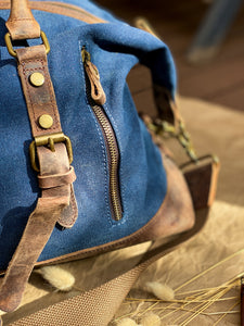 Canvas Leather Indigo Duffle Bag