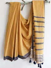 Load image into Gallery viewer, SAREE -Gold Foil Printed Mustard Saree