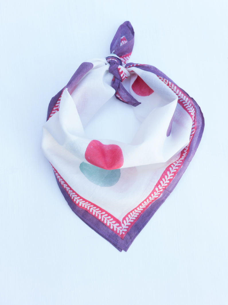 Cotton White Polka Square Scarf