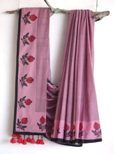 Load image into Gallery viewer, SAREE - Flower in Pink & Black